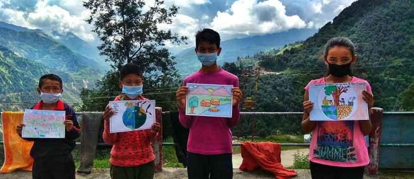 पेंटिंग के माध्यम से आपबीती कहकर मुनस्यारी के नन्हे बच्चों का दुनिया को एक जरूरी संदेश