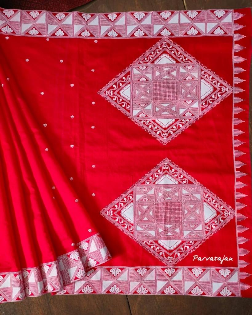 Saree Adorned With Aipan Design